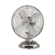 Minka Aire Brushed Nickel Oscillating Table Fan ($53) ❤ liked on Polyvore featuring home, home decor, fans and standing fans