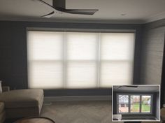 ASAP Blinds | Before & after photo of custom top-down, bottom-up honeycomb shades in a house on the water.