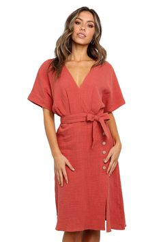 GOSOPIN Womens Solid Color Midi Dress Short Sleeve Belted Wrap Front Shirt Dress