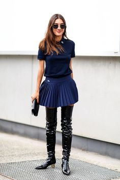 95 Killer Outfits To Copy from Fall 2015 New York Fashion Week - patent leather over the knee boots