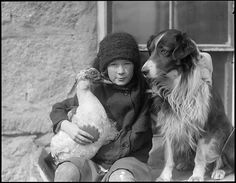Girl with bird and dog Creator/Contributor: Jones, Leslie, 1886-1967 (photographer)