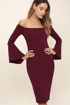 All She Wants Burgundy Off-the-Shoulder Midi Dress - Everything you could hope for has arrived in the stylish All She Wants Burgundy Off-the-Shoulder Midi Dress! Medium-weight stretch knit sweeps across an off-the-shoulder neckline (with no-slip...