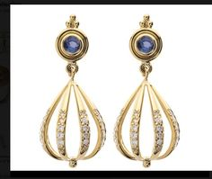 Tanzinite and diamond earrings
