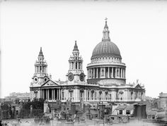 St Paul's Cathedral dominates the skyline. It was built between 1675 and 1711 by Sir Christopher Wren, to replace the previous cathedral which was destroyed during the Great Fire of London in 1666.   This image belongs to English Heritage Archive, the largest public archive in Britain with more than 12 million photographs of England's architecture, archaeology, local and social history.
