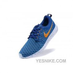 Cushioned collar Shoes Nike Flyknit Roshe Run Royal Blue Total Orange White Blue Point Cheap Sneakers, Sneakers Nike, Run 2, Blue Point, Nike Roshe Run, Nike Flyknit, Air Jordan Shoes, Blue Orange, Nike Free