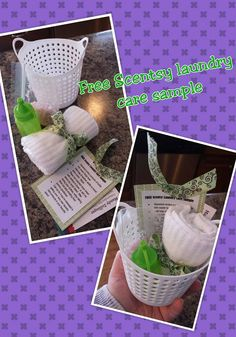Scentsy layers laundry care sample idea using the laundry liquid and our washer whiffs.  I picked up the supplies in Target and used what I had on hand as well.  The baskets hold the laundry liquid, washer whiffs, instruction sheet, business card, and new washcloth.  So fun!  I like to use these at my parties and give gifts to customers and hosteses.  It's cute, easy, and inexpensive to do!   http://hannalandis.scentsy.us