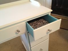 Thrift Store desk refurbish for vanity use in girl's bedroom