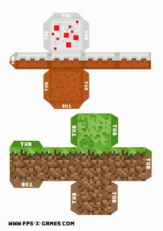 Minecraft printable grass and cake block