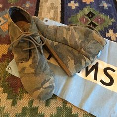 NWOT camo wedge TOMS Camouflage. Never worn outside the house. In perfect condition. No box TOMS Shoes Ankle Boots & Booties