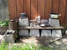 outside activities and info let the children play: a mud kitchen for our mud/dirt patch Part 2 How t Mud Pie Kitchen, Mud Kitchen For Kids, Kitchen Ideas, Outdoor Play Spaces, Play Yard, Outdoor Classroom, Outdoor Learning, Outdoor Furniture Sets, Outdoor Decor