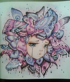 Finished Pop Manga Coloring book #camilladerrico #popmangacoloringbook #popmanga #butterflies #adultcolouring #adultcolouringbook