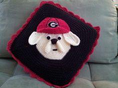 Go DAWGS!  Crochet UGA BULLDOGS throw pillow...created by Danita