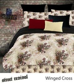 The Veratex Winged Cross comforter set is constructed form ultra soft microfiber. Boys Bedding Sets, King Size Comforter Sets, King Size Comforters, Red Bedding, King Comforter, Bed N Bath, Gothic Bed, Bed In A Bag, King Sheet Sets