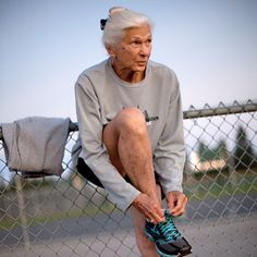 """The lovely Joy Johnson. """"I'll be at the back of the pack, but I don't mind."""" Joy Johnson, 86, ran 3 marathons a year, always with a bow in her hair. She started running at the age of 59, and by her mid-80s she had completed the NYC Marathon 25 consecutive times. She stuck to a daily routine of 4am workouts, which she loved. She completed her final marathon in November 2013, peacefully passing away in her sleep the next day."""