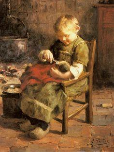 Evert Pieters (Dutch, 1856-1932) The Doll`s Supper.  parashutov - ДЕТИ В ЖИВОПИСИ (ВО ЧТО ИГРАЮТ ДЕТИ С КУКЛАМИ? Продолжение темы)