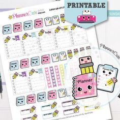 Planning Day Stickers,  Kawaii Printable Planner Stickers, Cute Planner, Pencil, Stickers, Erin Condren, Kawaii Planner Stickers K003
