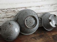 Vintage Gray Graniteware Colanders by TreasuredPrimitives on Etsy