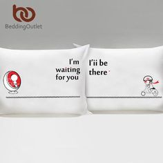 I LOVE YOU Pillow Case Cover Plain Printed Pillowcase Romantic Wedding Gift One Pair for Him or Her Bedclothes - Animetee - 10