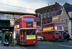 Buses in Romford - railway bridge in background Essex England, England Uk, London England, Vintage London, Old London, London Transport, Public Transport, London Bus, London Life