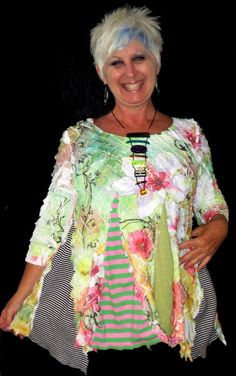 Flowers Ruffles Stripes upcycled tunic by monapaints on Etsy, $169.00