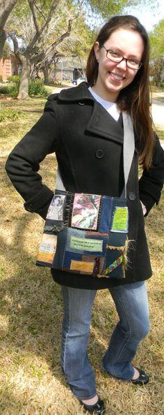 """""""Shine Your Light"""" Tote Handbag Handmade Christian Bag Denim Bag by CrossMyHeartBags, $28.00"""