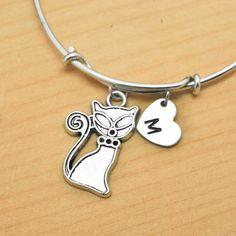 Cat Bangle, Sterling Silver Bangle, Cat Bracelet, Expandable Bangle, Personalized Bracelet, Charm Bangle, Monogram, Initial Bracelet by JubileJewel on Etsy