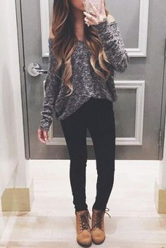 Leggings, A Grey Knitted Off Shoulder Sweater And Brown Boots