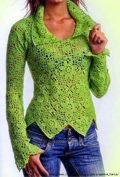 Free crochet patterns and video tutorials: Free crochet pullover sweater pattern symbol diagrams-zo leuk om te maken!!!!!