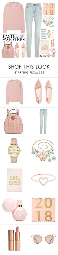 """the queen new year "" by licethfashion on Polyvore featuring Theory, Sophia Webster, Gucci, Kate Spade, Love Is, Charlotte Tilbury, Fendi and pastelsweaters"