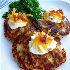 "Loaded Mashed Potato Cakes | ""Had lots of mashed potato left and needed a way to use them. Think I'll be making extra mash all the time now!"""