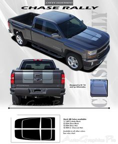 "2016 Chevy Silverado 1500 ""CHASE RALLY"" Edition Style Truck Racing Vinyl Graphics Stripes Kit"