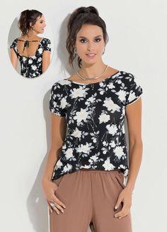 Blusa Floral Dark com Tira no Decote Costas - Compre em até 5X sem juros na 7d38c35813d20