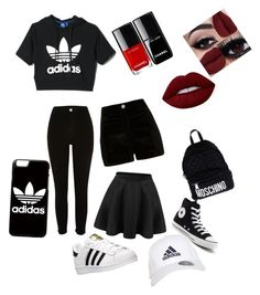 """lazy.:)"" by brigi-bognar on Polyvore featuring adidas, River Island, Converse, Moschino and Lime Crime"
