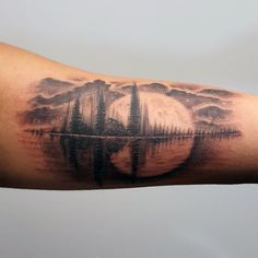 [orginial_title] – Sierra Reith 30 Soundwave Tattoo Designs For Men – Acoustic Ink Ideas Nature Soundwave Mens Arm Tattoo With Giant Moon Design Loon Tattoo, Tattoo Trend, Tattoo Ideas, Music Tattoos, Body Art Tattoos, Sleeve Tattoos, Tatoos, Natur Tattoo Arm, Nature Tattoos
