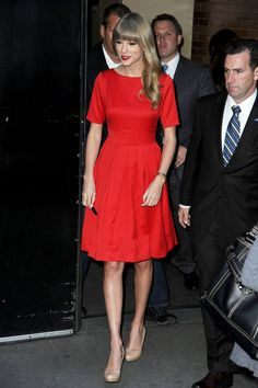 Taylor Swift stuns in a red dress as she stops by 'Good Morning America' to promote her new album