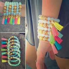 Tassel Bracelets These bracelets are sure to get you in the summer mood!!!!! Perfect for day, nights, sunning by the pool, long days on the beach or just because you want to have some fun!!! These are made of stretch elastic cord with clear opal stones and gold accent beads. Listing price is for one bracelet. Currently two of every color is available. Gold initial can be added for $3. Please comment for listing. Do not purchase. Jewelry Bracelets