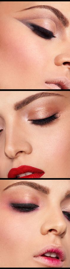 Im in love with the red lips & golden, creamy beige colors used as eyeshadow, it looks amazing together. I cant get enough of red lips when I do my makeup that way!