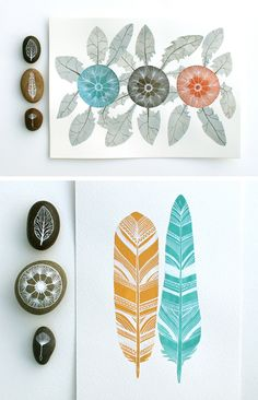 feathers, flowers and stones