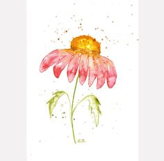 Flower painting Original watercolor floral nature art Gerbera Daisy wall decor spring home decor Pink red yellow by BluePalette on Etsy https://www.etsy.com/listing/174267596/flower-painting-original-watercolor