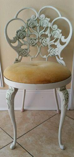 Vintage Adjustable Vanity Dresser Boudoir Stool Chair Hollywood ...