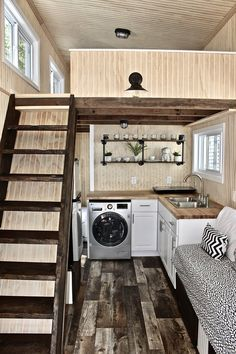 """If you are in search of a lovely tiny house in which to live the """"less is more"""" lifestyle of your dreams, you will find that Mini Mansions Tiny Home Builders does some incredible work. Let's check out their Chalet tiny house. House Plans And More, Tiny House Plans, Tiny House On Wheels, Interior Modern, Home Interior, Interior Sketch, Interior Design, Small Room Design, Laundry Room Design"""
