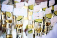 Tequila shots with name tags and limes ;) Destination beach wedding at Dreams Riviera Cancun Mexico - Rachael and Matt @dresortswedding