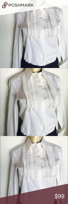 Women's white collared Burberry blouse Beautiful Women's white collared Burberry blouse with Frayed detailing in the front. Classic blouse size 42 which is equivalent to a US size eights armpit to armpit measures 18 inches across shoulder to hem measures 25 inches Burberry Tops Button Down Shirts
