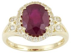 Mahaleo Ruby 3.50ct Oval With .38ctw Round White Topaz 10k Yellow Gold Ring