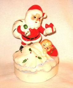 Vintage Christmas Lefton Santa Figurine Music Box Japan #1887 White Christmas