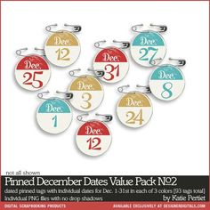 Pinned #DecemberDaily #Dates Value Pack No. 02 - Digital #Scrapbooking Elements