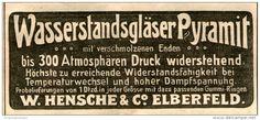 Original-Werbung/ Anzeige 1905 - WASSERSTANDSGLÄSER PYRAMIT / HENSCHE & CO. ELBERFELD - ca. 100 x 45…