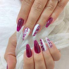 long nail red +white