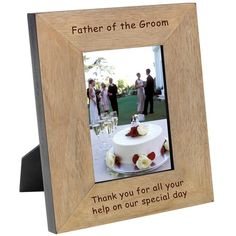 A photo frame is the perfect gift for highlighting great wedding memories. This oak veneer wood frame is engraved with 'Our Wedding Day' and any message to create a personalised wedding gift that the Bride and Groom will cherish. Engraved Wedding Gifts, Wedding Gifts For Bride And Groom, Engraved Gifts, Father Of The Bride, Our Wedding Day, Wedding Ideas, Groom Gifts, Bride Gifts, Wedding Fun