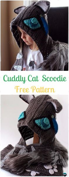 Crochet Cuddly Cat Scoodie with Pockets Free Pattern - Crochet Hoodie Scarf Free Patterns